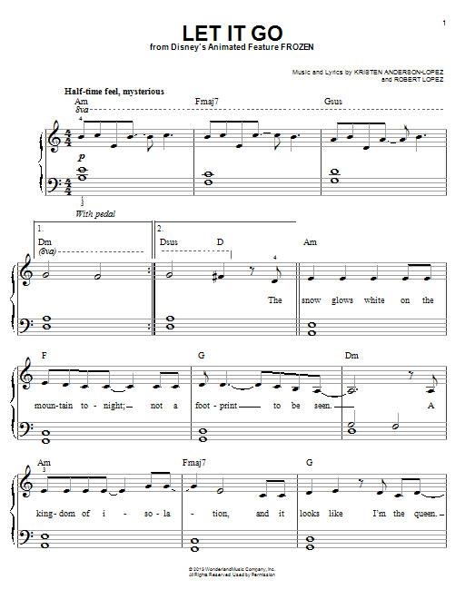 let it go简单版-冰雪奇缘主题曲-钢琴谱(五线谱,双手简谱)免费下载